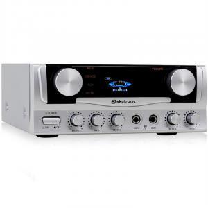 SKY-103 HiFi-Karaoke-Verstärker 400W max. mit Display 2x Mikrofon-Anschluss silber Silber