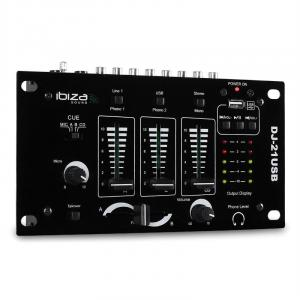 DJ-21 3/2-Kanal Mischpult Mixer USB Talkover Party