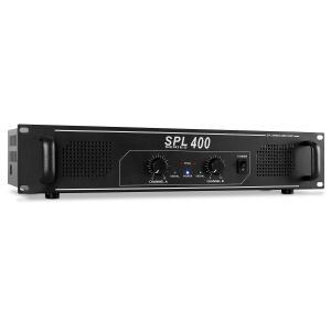 """SPL400 DJ PA-Verstärker Endstufe (2x 200 Watt, Lautsprecherimpedanz: 4-8 Ohm, geeignet zum 19"""" Rack-Einbau, 2 Höheneinheiten) schwarz"""