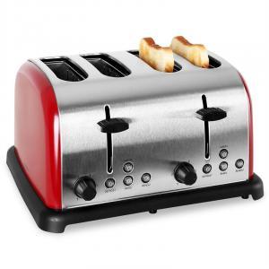 TK-BT-211-R Toaster 4-Scheiben Edelstahl 1650W rot Rot