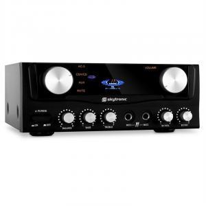SKY-103 HiFi-Karaoke-Verstärker 400W max. mit Display 2x Mikrofon-Anschluss schwarz Schwarz