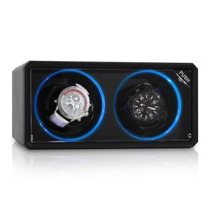 8LED2S Uhrenbeweger 2 Uhren schwarz LED-Effekt