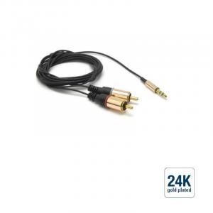Audio-Verbindungskabel Klinke 3,5/2xRCA, blau, 1,8m