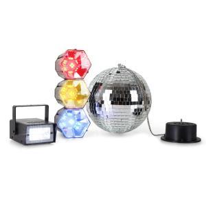 Disco Fever Mega Party Set Discokugel Strobo Lichtampel