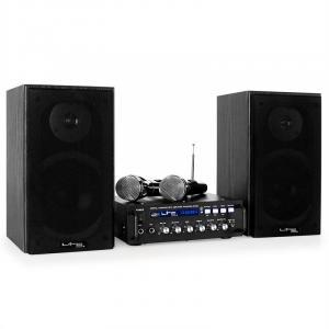 Karaoke-Star 4 Karaoke-Anlage Set Verstärker 2-Wege-Bassreflexlautsprecher Mikrofon Bluetooth USB