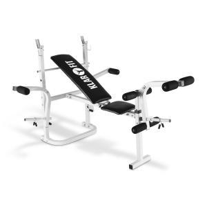 Workout Hero Hantelbank mit Ablage 2x Armcurler 1x Beincurler 160kg weiß