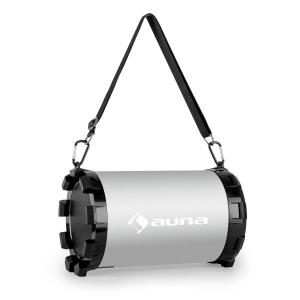 Dr. Silver Boom 2.1-Bluetooth-Lautsprecher 20W max. USB SD AUX Akku Silber