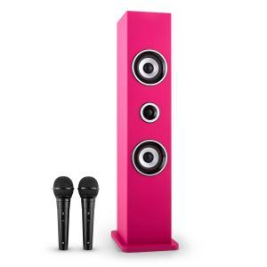 Karaboom Bluetooth-Lautsprecher USB AUX Karaoke 2 x Mikrofon pink Pink
