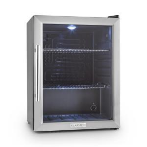 Beersafe XL Kühlschrank 60 Liter Klasse A++ Glastür Edelstahl Silber | 60
