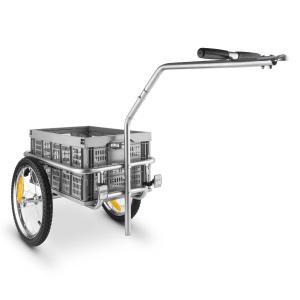 Bigbig Box Fahrradanhänger Handwagen Hochdeichsel 40l 40kg grau