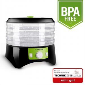 Appleberry Dörrgerät Dehydrator 400W 4 Etagen schwarz-grün BPA-frei Schwarz