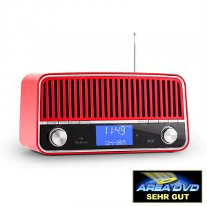 Nizza DAB+ Retro-Radio Bluetooth UKW AUX 2.1 Subwoofer rot