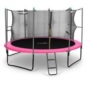 Rocketgirl 366 Trampolin 366cm Sicherheitsnetz innen breite Leiter pink