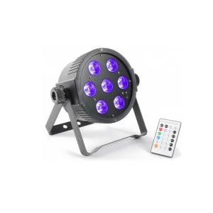 FlatPAR 7x 18W 6-in-1 Hexcolor RGBAWUV-LED DMX IR inkl. Fernbedienung