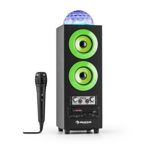 DiscoStar Green portabler 2.1-Bluetooth-Lautsprecher USB Akku LED Mikro Grün