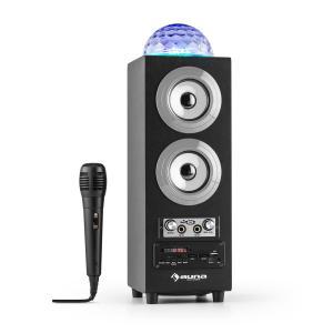 DiscoStar Silver portabler 2.1-Bluetooth-Lautsprecher USB Akku LED Mikro Silber