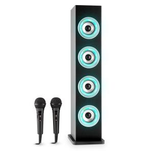 Karaboom LED Bluetooth-Lautsprecher USB AUX UKW Karaoke 2 x Mikrofon Schwarz