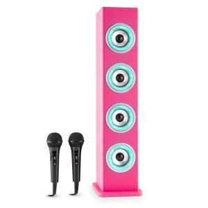 Karaboom LED Bluetooth-Lautsprecher USB AUX UKW Karaoke 2x Mikrofon Pink