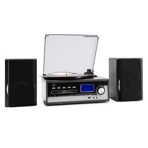 Blackwood Stereoanlage Plattenspieler USB MP3 Encoding CD Kassette UKW AUX Schwarz