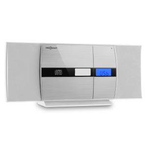 V-15 Stereoanlage CD USB MP3 UKW AUX Wandmontage Wecker weiß/silber Weiß