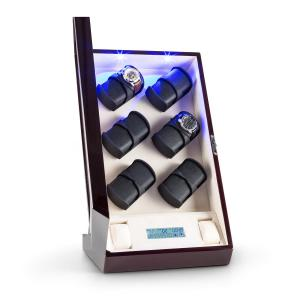 Klingenthal Uhrenbeweger Rechts-Links-Lauf 12 Uhren LED Touch Mahagoni Mahagoni