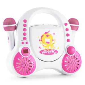 Rockpocket Kinder-Karaokesystem CD AUX 2x Mikrofon Sticker Set weiß Weiß