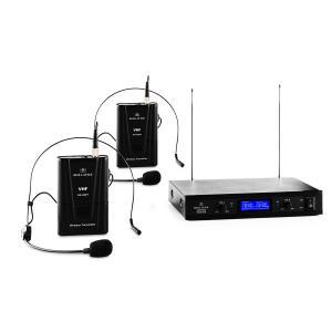 VHF-400 Duo2 2-Kanal VHF-Funkmikrofon-Set 1x Empfänger + 2x Headset