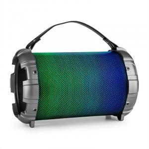 Dr. Bang LED 2.1-BT-Lautsprecher 20W RMS USB micro SD AUX Akku LED metallic Silber