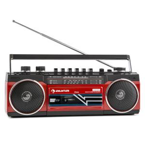 Duke Retro-Kassettenradio tragbarer Kassettenplayer USB SD Bluetooth FM-Radio Rot