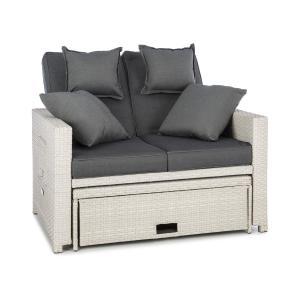 Komfortzone Rattan-Lounge-Sofa Zweisitzer Polyrattan Klapptische weiß Weiß
