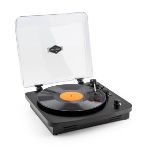 TT370 Retro-Plattenspieler integrierte Lautsprecher USB MP3 AUX schwarz Schwarz