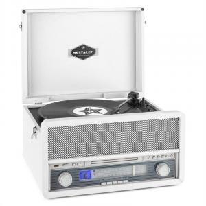 Belle Epoque 1907 Retro-Audiosystem Plattenspieler Kassette Bluetooth USB C Weiß