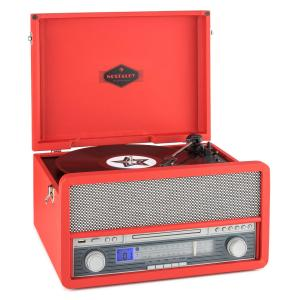 Belle Epoque 1907 Retro-Audiosystem Plattenspieler Bluetooth MC USB CD AUX Rot
