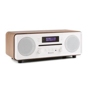 Melodia CD DAB+/UKW Desktop Radio CD-Player Bluetooth Alarm Snooze walnuss Schwarz