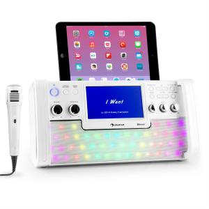 "DiscoFever LED Bluetooth-Karaokeanlage LED 7"" TFT-Screen CD USB weiss Weiß"