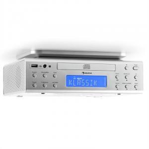 KRCD-150 Küchen-Unterbauradio CD USB AUX UKW RDS Alarm Fernbedienung silber Silber