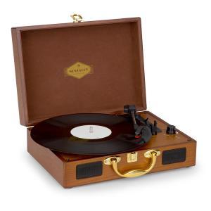 Nostalgy by auna Peggy Sue Retro-Plattenspieler LP USB AUX Holzoptik/Gold-Optik
