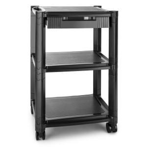 P-Stand Drucker-Rolltisch mit Schublade Medienwagen 3 Ablagefächer schwarz