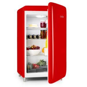 Retro-Kühlschrank Energieeffizienzklasse A+ 136 Liter Fassungsvermögen Gemüsefach 3 Ebenen Flaschenfach & Eierablage Rot