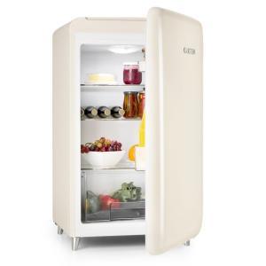 Retro-Kühlschrank Energieeffizienzklasse A+ 136 Liter Fassungsvermögen Gemüsefach 3 Ebenen Flaschenfach & Eierablage Creme