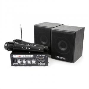 AV380BT Karaoke-Verstärker-Set USB SD BT 2x Lautsprecher 2x Mikrofon