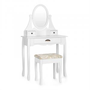 Miss Leonore Schminktisch schwenkbarer Spiegel 3 Schubladen weiß