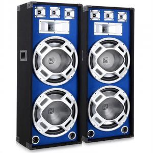 SKY-178 Paar PA-Lautsprecher PA-Box 2x 38cm (15'')-Subwoofer blau LED-Lichteffekt 1000W
