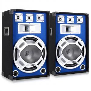 Skytec Paar 38cm PA-Lautsprecher Lichteffekt blau 2x800W Boxen