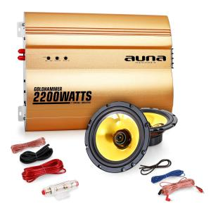 """2.0 Car Hifi Set """"Golden Race V1"""" - 5"""" Lautsprecher &2200W Verstärker"""
