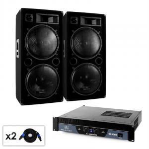 "Malone 2.0 ""Bass"" DJ PA Set mit Verstärker, Lautsprecher & Kabel 2000W"
