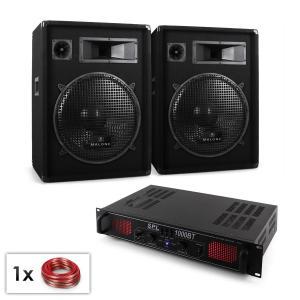 "DJ PA Set ""Malone Bluetooth SPL"" Paar 15"" (38cm) Lautsprecher & Verstärker1000W"