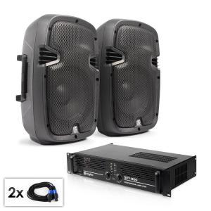 """PA Set """"SPJ Boom MKII"""" Paar 8"""" Boxen & Verstärker 800W"""