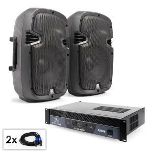 "PA Set ""SPJ Boom 10"" Paar 25cmBoxen & Verstärker 800W"