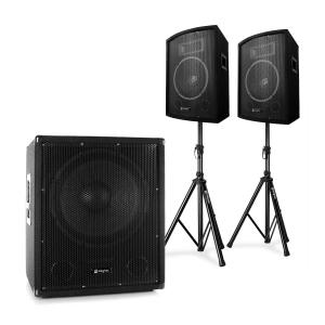 "Skytec 2.1 Aktiv PA DJ Set mit Bi-Amp Suboofer, Paar 10"" Lautsprecher & Stativen"